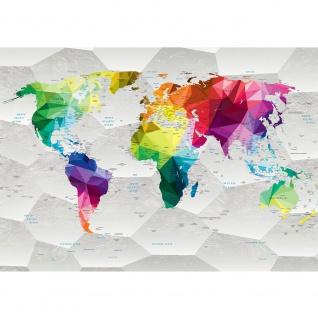 Fototapete Städte & Länder Tapete Design Modern Karte Landkarte Welt Geometrie bunt | no. 4410