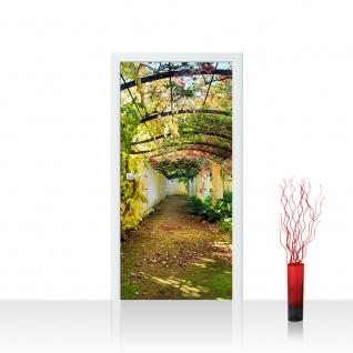Türtapete - Way in my Garden Garten Terrasse Blumenranken Blume 3D Perspektive | no. 47