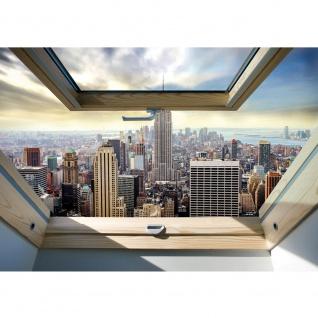 Fototapete Skylines Tapete Manhattan, Hudson River, Wolkenkratzer, Fenster bunt | no. 3324