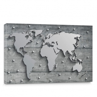 Leinwandbild Weltkarte metallic Metall Silber   no. 3329