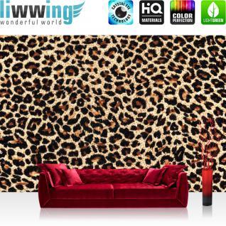 liwwing Vlies Fototapete 300x210 cm PREMIUM PLUS Wand Foto Tapete Wand Bild Vliestapete - Tiere Tapete Gepard Fell Muster Flecken Tierfell schwarz - no. 533