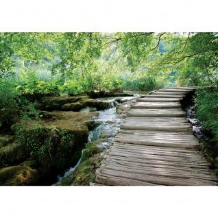 Fototapete Landschaft Tapete Wald Bäume Wasser Bach Holz grün   no. 3065