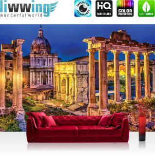 liwwing Vlies Fototapete 208x146cm PREMIUM PLUS Wand Foto Tapete Wand Bild Vliestapete - Rom Tapete Rom Stadt Säulen Nacht gelb - no. 1330