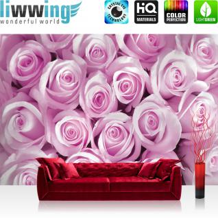 liwwing Fototapete 368x254 cm PREMIUM Wand Foto Tapete Wand Bild Papiertapete - Blumen Tapete Rosen Blüten Pflanze rosa - no. 363