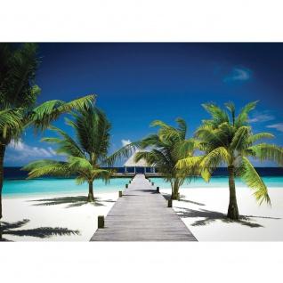 Fototapete Meer Tapete Palme Strand Steg Himmel blau Natur blau   no. 1132