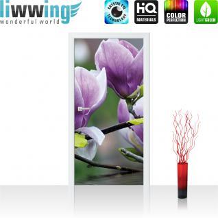 liwwing Vlies Türtapete 91x211 cm PREMIUM PLUS Tür Fototapete Türposter Türpanel Foto Tapete Bild - Blume Wasser Pflanze - no. 439