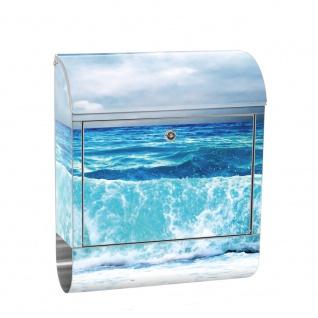 Edelstahl Wandbriefkasten XXL mit Motiv & Zeitungsrolle   Ozean Meer Wasser See Welle Sturm Blau Türkis   no. 0100