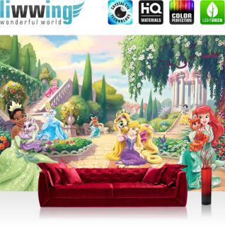 liwwing Vlies Fototapete 208x146cm PREMIUM PLUS Wand Foto Tapete Wand Bild Vliestapete - Disney Tapete Princesses Kindertapete Prinzessinen Garten Blume Bäume bunt - no. 1502