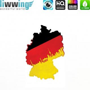 Wandsticker - No. 4624 Wandtattoo Sticker Wohnzimmer Flagge Deutschland Germany Landkarte schwarz rot gold
