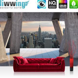 liwwing Fototapete 254x168 cm PREMIUM Wand Foto Tapete Wand Bild Papiertapete - Skylines Tapete Skyline Stadt New York Himmel grau - no. 1548