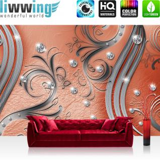 liwwing Fototapete 368x254 cm PREMIUM Wand Foto Tapete Wand Bild Papiertapete - Ornamente Tapete Abstrakt Perlen Ranke Diamant Blätter Schwung Streifen rot - no. 559