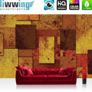 liwwing Fototapete 368x254 cm PREMIUM Wand Foto Tapete Wand Bild Papiertapete - 3D Tapete Abstrakt Rechtecke Steinoptik Muster Design 3D Optik gelb - no. 889