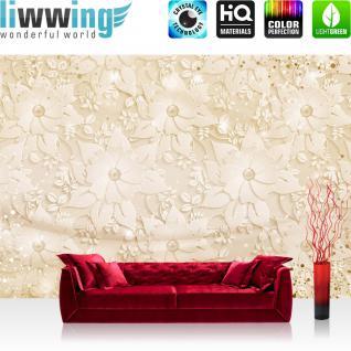 liwwing Vlies Fototapete 312x219cm PREMIUM PLUS Wand Foto Tapete Wand Bild Vliestapete - Ornamente Tapete Perlen Diamanten Wellen gold - no. 3265