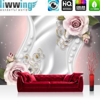 liwwing Vlies Fototapete 312x219cm PREMIUM PLUS Wand Foto Tapete Wand Bild Vliestapete - Orchideen Tapete Ornamente Rosen Blume Sterne Perlen rosa - no. 2414