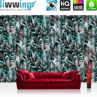 liwwing Vlies Fototapete 416x254cm PREMIUM PLUS Wand Foto Tapete Wand Bild Vliestapete - Natur Tapete Federn Muster Indianer türkis - no. 3546