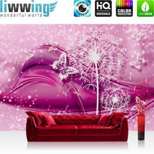 liwwing Vlies Fototapete 152.5x104cm PREMIUM PLUS Wand Foto Tapete Wand Bild Vliestapete - Steinwand Tapete Steinoptik Steine Backstein Rose Schnörkel Schmetterling rot - no. 2056