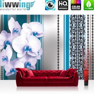 liwwing Vlies Fototapete 416x254cm PREMIUM PLUS Wand Foto Tapete Wand Bild Vliestapete - Orchideen Tapete Blumen Blüten Blätter Orchideen Streifen blau - no. 2243