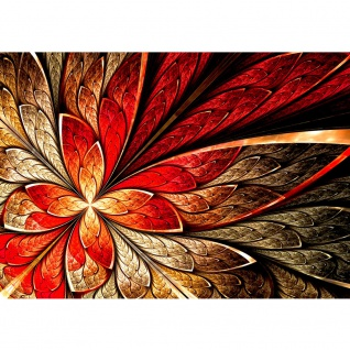 Fototapete Yellow and Red Floral Ornament Ornamente Tapete Ornament abstrakt 3D Wand Rot braun Hintergrund rot | no. 115