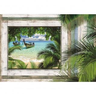 Fototapete Holz Tapete Meer Strand Palmen Boote Holz Holzoptik Fenster Rahmen grau | no. 2608