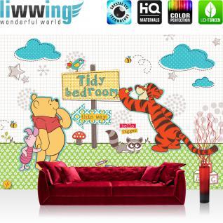 liwwing Vlies Fototapete 104x50.5cm PREMIUM PLUS Wand Foto Tapete Wand Bild Vliestapete - Disney Tapete Winnie Pooh Tigger Ferkel Illustration Cartoons bunt - no. 1309