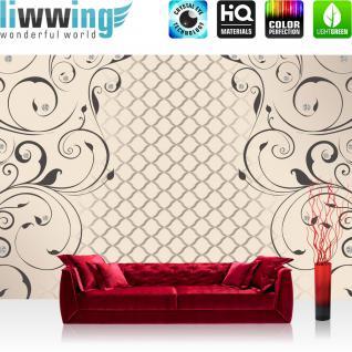 liwwing Vlies Fototapete 416x254cm PREMIUM PLUS Wand Foto Tapete Wand Bild Vliestapete - Illustrationen Tapete Ranke Muster Diamanten Blätter beige - no. 1522