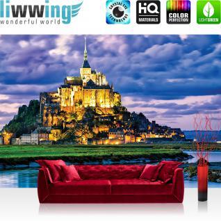 liwwing Vlies Fototapete 104x50.5cm PREMIUM PLUS Wand Foto Tapete Wand Bild Vliestapete - Landschaft Tapete Schloss Burg See Nacht blau - no. 1839