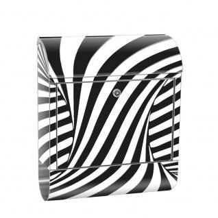 Edelstahl Wandbriefkasten XXL mit Motiv & Zeitungsrolle | Abstrakt Linien Kreisel 3D | no. 0648