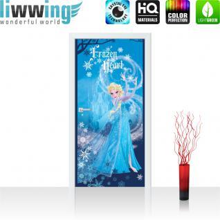liwwing Türtapete selbstklebend 91x211 cm PREMIUM PLUS Tür Fototapete Türposter Türpanel Foto Tapete Bild - DISNEY Frozen Elsa Kindertapete Prinzessin Schneeflocken - no. 1125