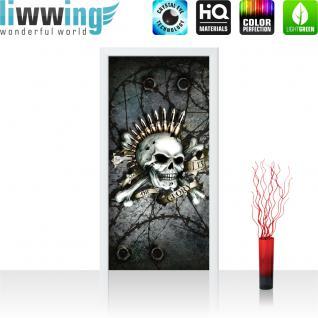 liwwing Türtapete selbstklebend 91x211 cm PREMIUM PLUS Tür Fototapete Türposter Türpanel Foto Tapete Bild - Totenkopf Patrone Knochen Piercing - no. 825