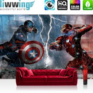 liwwing Fototapete 368x254cm PREMIUM Wand Foto Tapete Wand Bild Papiertapete - Marvel - AVENGERS Tapete The Avengers Captain America Iron Man Blitz bunt - no. 3539