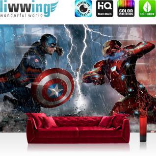 liwwing Vlies Fototapete 416x254cm PREMIUM PLUS Wand Foto Tapete Wand Bild Vliestapete - Marvel - AVENGERS Tapete The Avengers Captain America Iron Man Blitz bunt - no. 3539