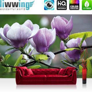 liwwing Vlies Fototapete 200x140 cm PREMIUM PLUS Wand Foto Tapete Wand Bild Vliestapete - Orchideen Tapete Blume Wasser Pflanze Orchidee lila - no. 439