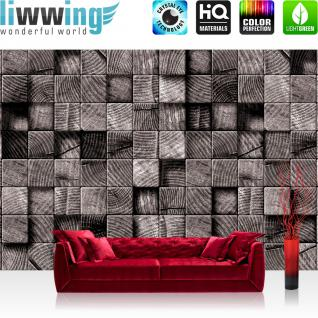 liwwing Vlies Fototapete 416x254cm PREMIUM PLUS Wand Foto Tapete Wand Bild Vliestapete - Kunst Tapete Muster Kunst Quadrate Design Streifen grau - no. 3022