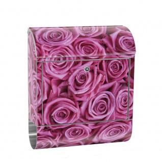 Edelstahl Wandbriefkasten XXL mit Motiv & Zeitungsrolle | Blumen Rose Blüten Natur Liebe Love Blüte Lila | no. 0183