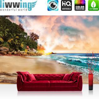 liwwing Fototapete 368x254cm PREMIUM Wand Foto Tapete Wand Bild Papiertapete - Meer Tapete Sandstrand Karibik Südsee Palmen Wolken natural - no. 3532