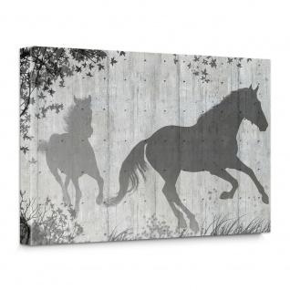 Leinwandbild Holzwand Holzoptik Pferd Blätter Malerei Schatten | no. 916