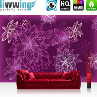 liwwing Vlies Fototapete 416x254cm PREMIUM PLUS Wand Foto Tapete Wand Bild Vliestapete - Blumen Tapete Blüten Punkte Kunst lila - no. 2886