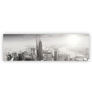 Leinwandbild Black and White Shanghai Sunset Skyline Skyline Shanhai Wolkenkratzer | no. 49 - Vorschau 2