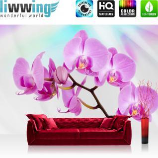 liwwing Vlies Fototapete 350x245 cm PREMIUM PLUS Wand Foto Tapete Wand Bild Vliestapete - Orchideen Tapete Blüte Tuch Blume lila blau weiß lila - no. 299