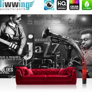 liwwing Fototapete 368x254 cm PREMIUM Wand Foto Tapete Wand Bild Papiertapete - Kunst Tapete Musik Jazz Reggae Blues Rock'n'Roll Gitarre Schlagzeug schwarz weiß - no. 2128