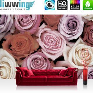 liwwing Fototapete 368x254 cm PREMIUM Wand Foto Tapete Wand Bild Papiertapete - Blumen Tapete Blüten Rosen Liebe rot - no. 2865