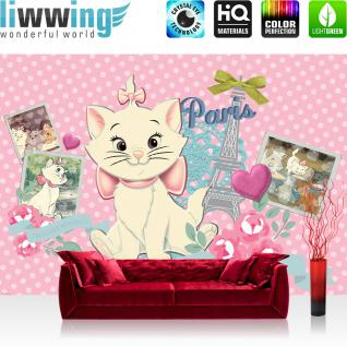 liwwing Fototapete 254x168 cm PREMIUM Wand Foto Tapete Wand Bild Papiertapete - Mädchen Tapete Disney Marie Kindertapete Katzen Paris Eifelturm pink - no. 2638