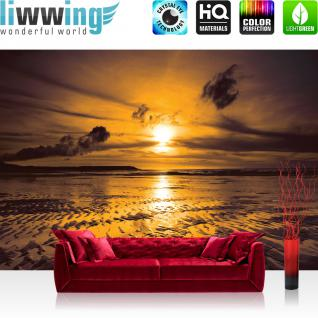 liwwing Vlies Fototapete 350x245 cm PREMIUM PLUS Wand Foto Tapete Wand Bild Vliestapete - Sonnenuntergang Tapete Meer Ebbe Wellen Strand Himmel Wolken Sonnenuntergang gelb - no. 814