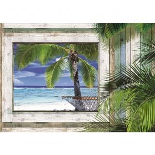 Fototapete Holz Tapete Holz Holzoptik Rahmen Fenster Strand Meer Palmen Himmel grau | no. 3004