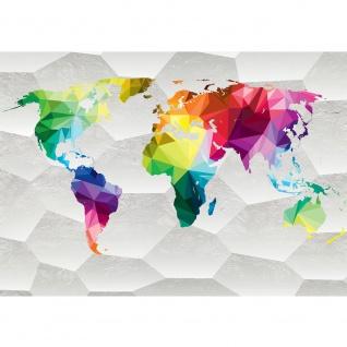 Fototapete Städte & Länder Tapete Design Modern Karte Landkarte Welt Bunte Geometrie bunt | no. 4411