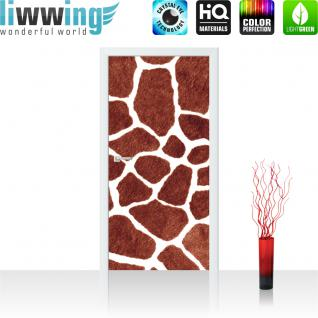 liwwing Türtapete selbstklebend 91x211 cm PREMIUM PLUS Tür Fototapete Türposter Türpanel Foto Tapete Bild - Giraffe Fell Muster Flecken - no. 435