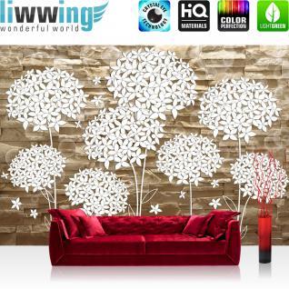 liwwing Fototapete 368x254 cm PREMIUM Wand Foto Tapete Wand Bild Papiertapete - Steinwand Tapete Steinoptik Steine Blumen Blüten Kunst braun - no. 2546