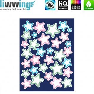 Wandsticker - No. 4819 Wandtattoo Sticker Leuchtsticker Fluoreszierend Neon Sterne