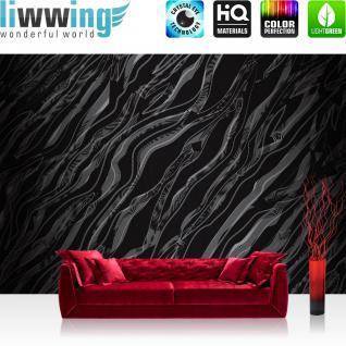 liwwing Vlies Fototapete 400x280 cm PREMIUM PLUS Wand Foto Tapete Wand Bild Vliestapete - Illustrationen Tapete Abstrakt Wellen schwarz-weiß Muster - no. 362