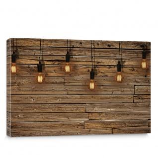 Leinwandbild Holzwand Holz Wand Leisten Bretter Glühbirnen Licht   no. 1281